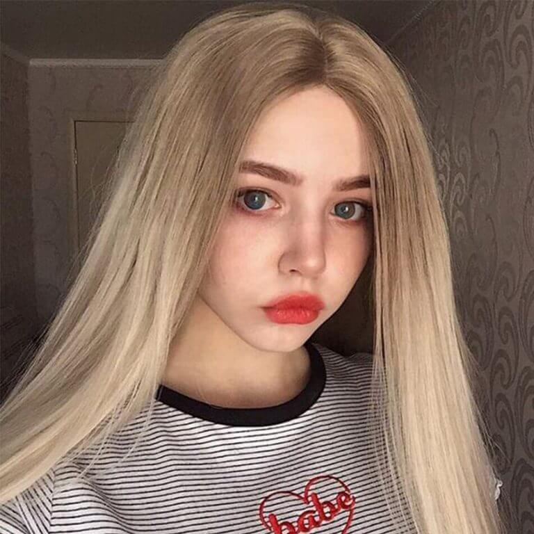 Musegetes Ombre Blonde Straight Synthetic Lace Front Wigs HS0002