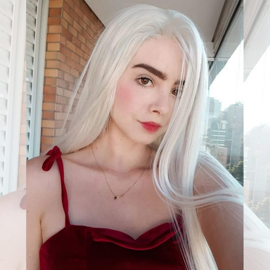White Blonde Natural Straight Synthetic Lace Front Wig HS0006
