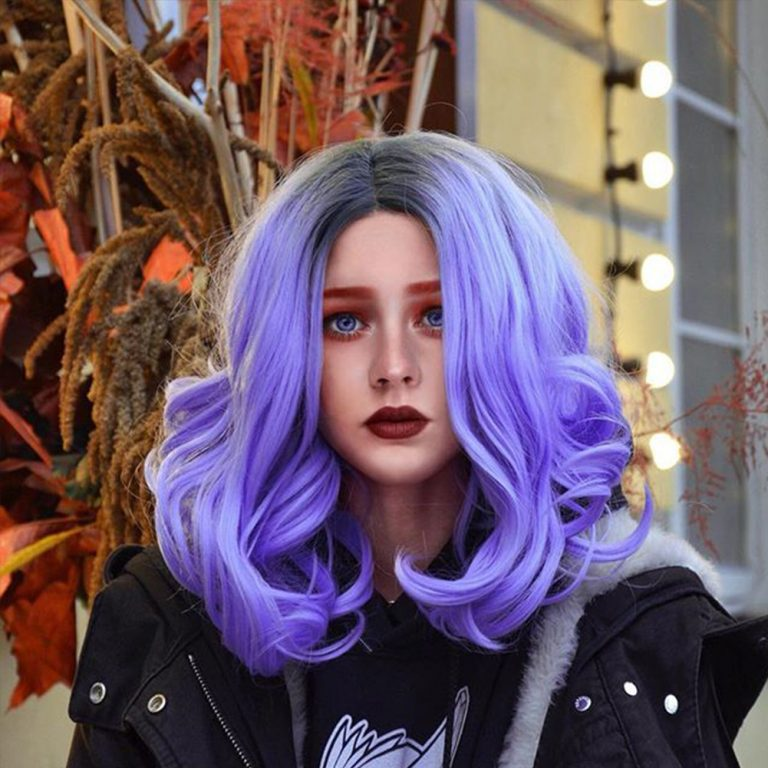 Musegetes Ombre Purple Short Wavy Synthetic Lace Front Wigs HS0026