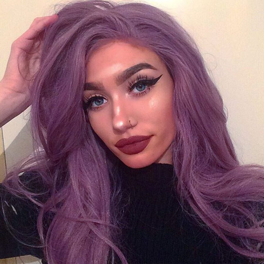 Musegetes Mixed Purple Wavy Synthetic Lace Front Wigs HS0035