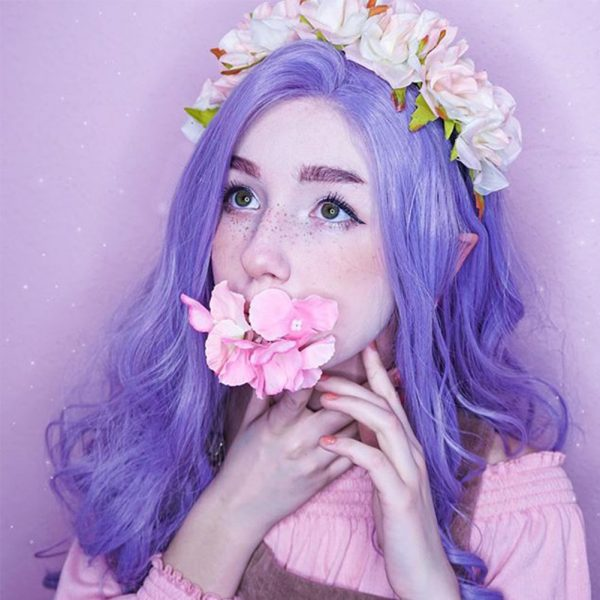 Musegetes Lavender Purple Synthetic Lace Front Wigs HS0038