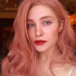 Peach Pink Wavy Synthetic Lace Front Wigs HS2023