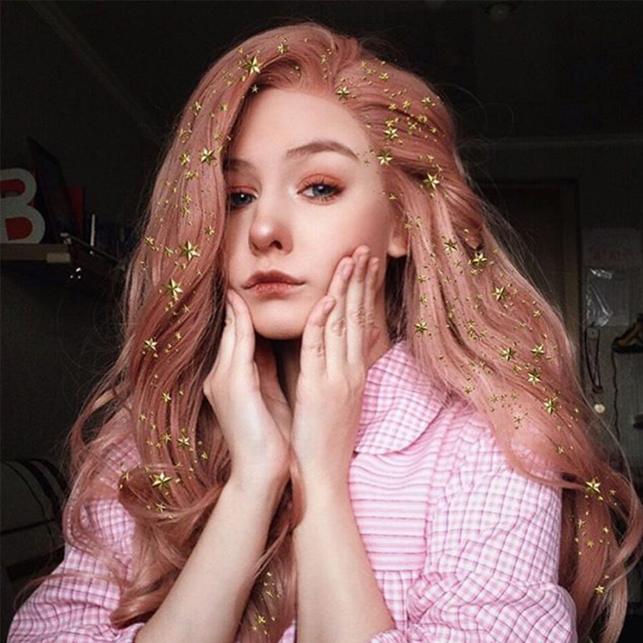 Peach Pink Wavy Synthetic Lace Front Wigs WHS2023